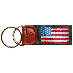 American Flag Key Fob in Hunter Green by Smathers & Branson