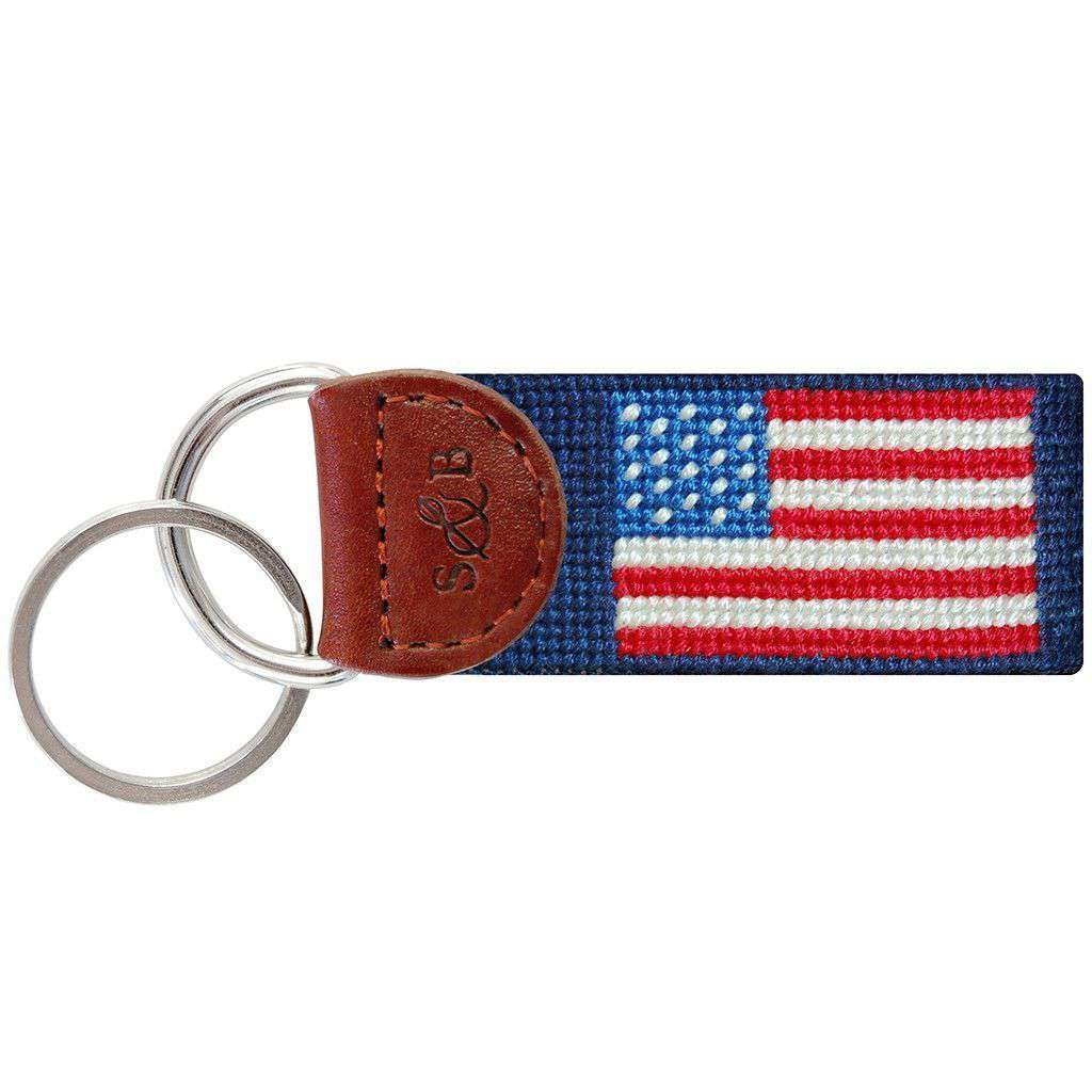 Key Fobs - American Flag Key Fob In Navy By Smathers & Branson