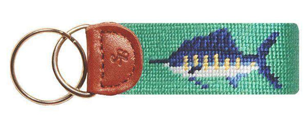 Key Fobs - Bill Fish Needlepoint Key Fob In Mint Green By Smathers & Branson