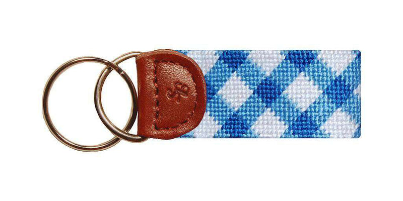 Key Fobs - Blue Gingham Needlepoint Key Fob In Blue By Smathers & Branson