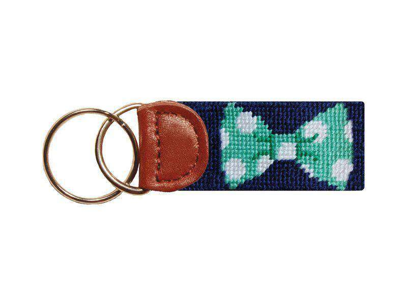 Key Fobs - Bow Tie Needlepoint Key Fob In Navy By Smathers & Branson