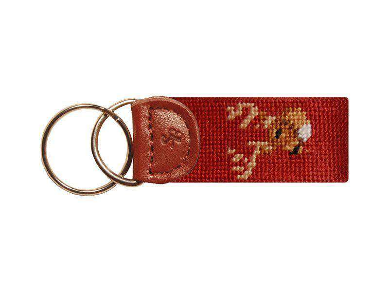 Key Fobs - Buck Deer Needlepoint Key Fob In Rust Red By Smathers & Branson