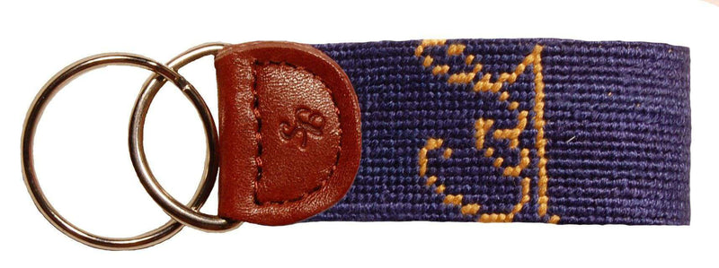 Cal - Berkeley Needlepoint Key Fob in Navy by Smathers & Branson