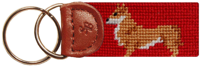 Key Fobs - Corgi Needlepoint Key Fob In Red By Smathers & Branson
