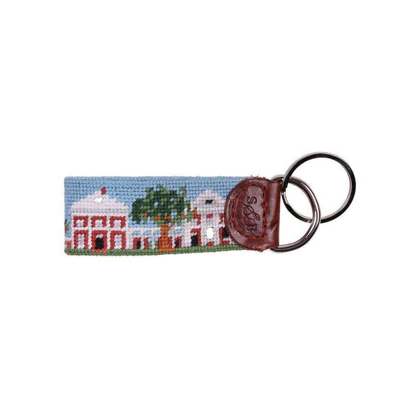 Custom UVA Lawn Campus Scene Needlepoint Key Fob by Smathers & Branson