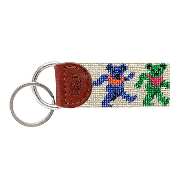 8e2dd23f495 Dancing Bears Needlepoint Key Fob in Oatmeal by Smathers   Branson