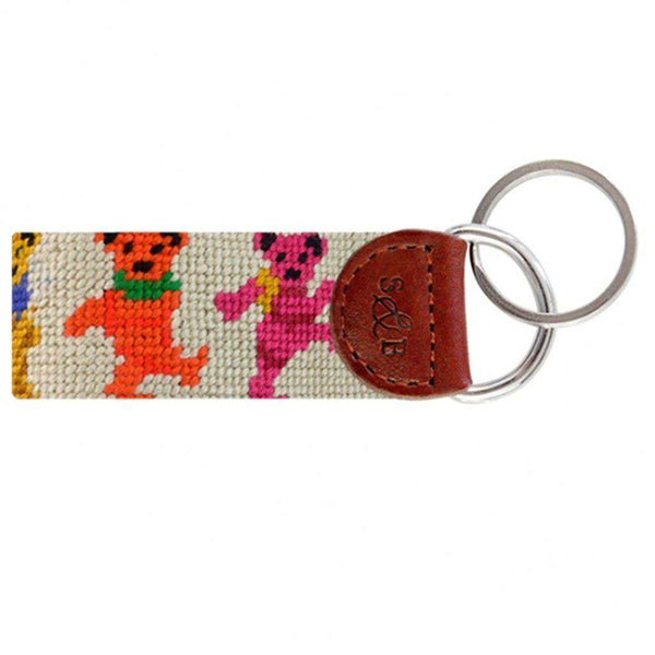Dancing Bears Needlepoint Key Fob in Oatmeal by Smathers & Branson