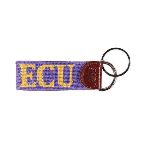 East Carolina Needlepoint Key Fob in Purple by Smathers & Branson