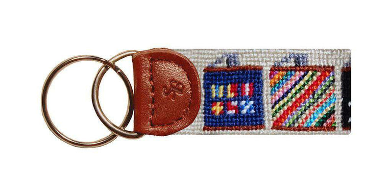 Key Fobs - Flasks Needlepoint Key Fob In Khaki By Smathers & Branson