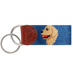 Key Fobs - Golden Retriever Head Needlepoint Key Fob In Blue By Smathers & Branson
