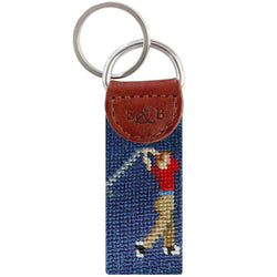 Golfer Key Fob in Navy by Smathers & Branson