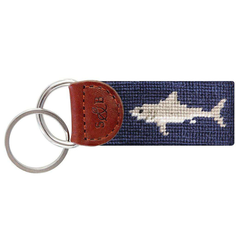 Key Fobs - Great White Shark Needlepoint Key Fob By Smathers & Branson