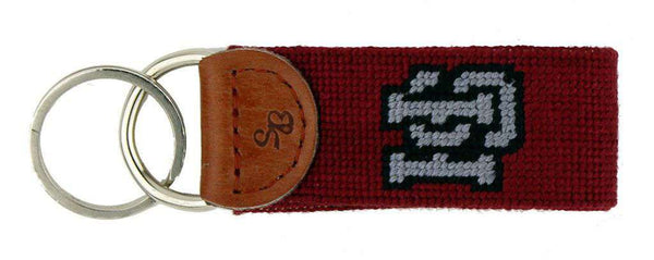 Key Fobs - Hampden-Sydney College Needlepoint Key Fob In Garnet By Smathers & Branson