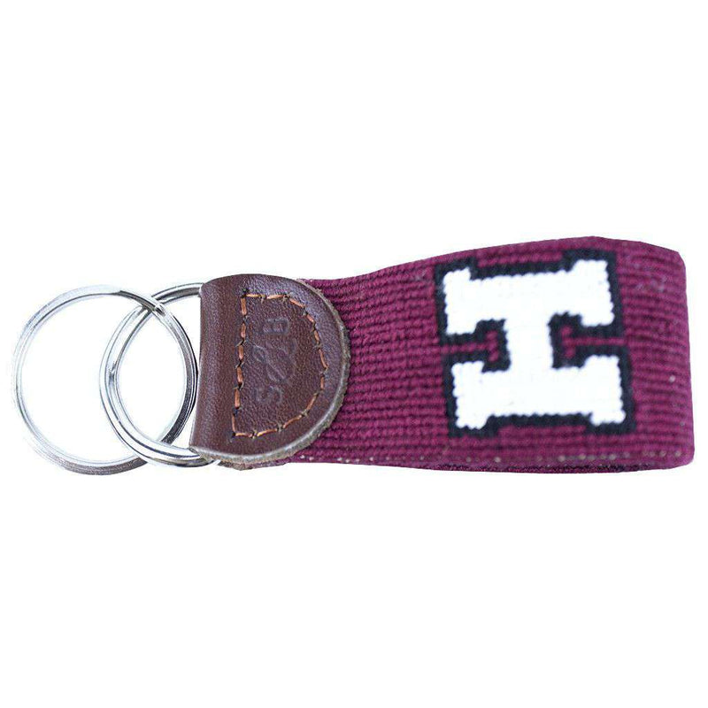 Key Fobs - Harvard Needlepoint Key Fob In Red By Smathers & Branson