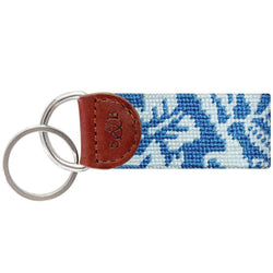 Key Fobs - Hibiscus Needlepoint Key Fob In Blue By Smathers & Branson