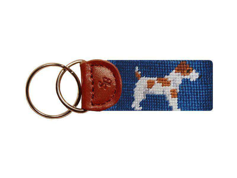 Key Fobs - Jack Russell Needlepoint Key Fob In Blue By Smathers & Branson