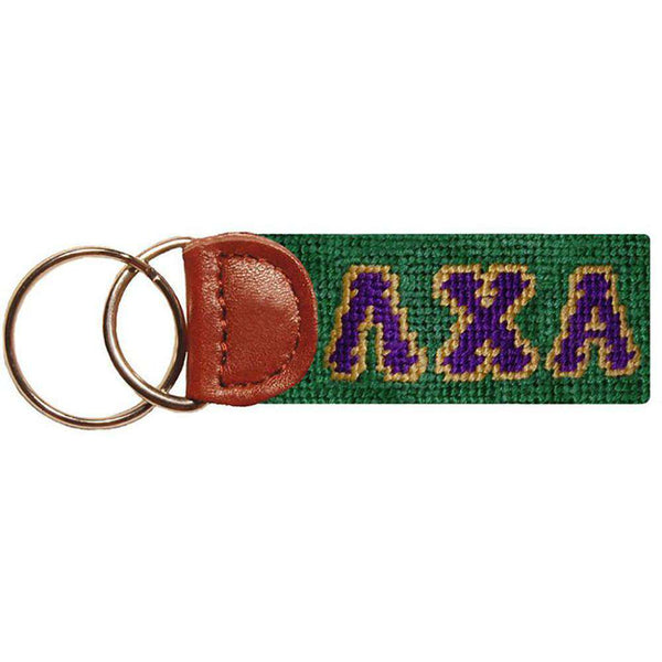 Key Fobs - Lambda Chi Alpha Needlepoint Key Fob In Green By Smathers & Branson
