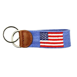 Limited Edition South Hampton-American Flag Needlepoint Key Fob in Light Blue by Smathers & Branson