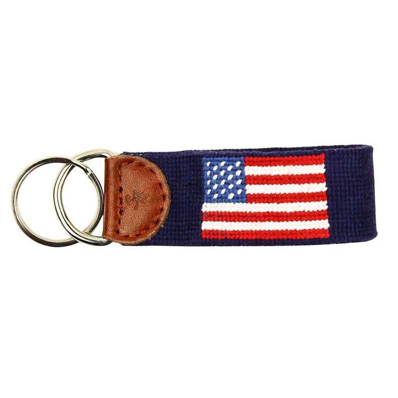 Limited Edition South Hampton-American Flag Needlepoint Key Fob in Navy by Smathers & Branson