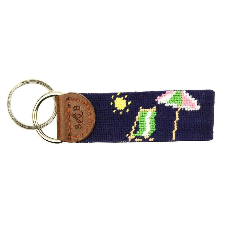 Limited Edition South Hampton-Beach Chair Needlepoint Key Fob in Navy by Smathers & Branson