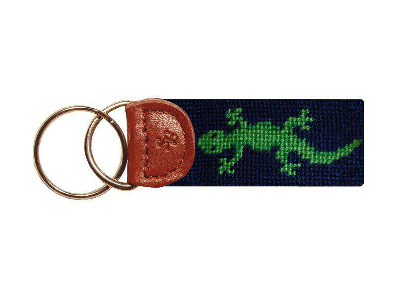 Key Fobs - Lizard Needlepoint Key Fob In Navy By Smathers & Branson