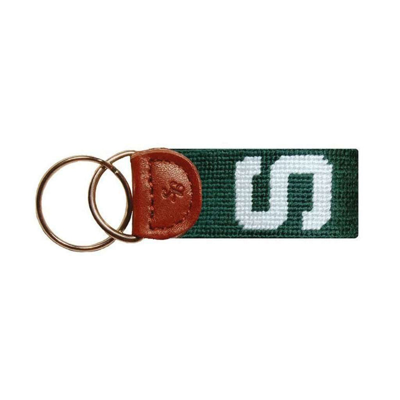 Key Fobs - Michigan State Needlepoint Key Fob In Green By Smathers & Branson