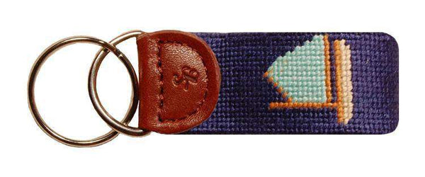Rainbow Fleet Needlepoint Key Fob in Blue by Smathers & Branson