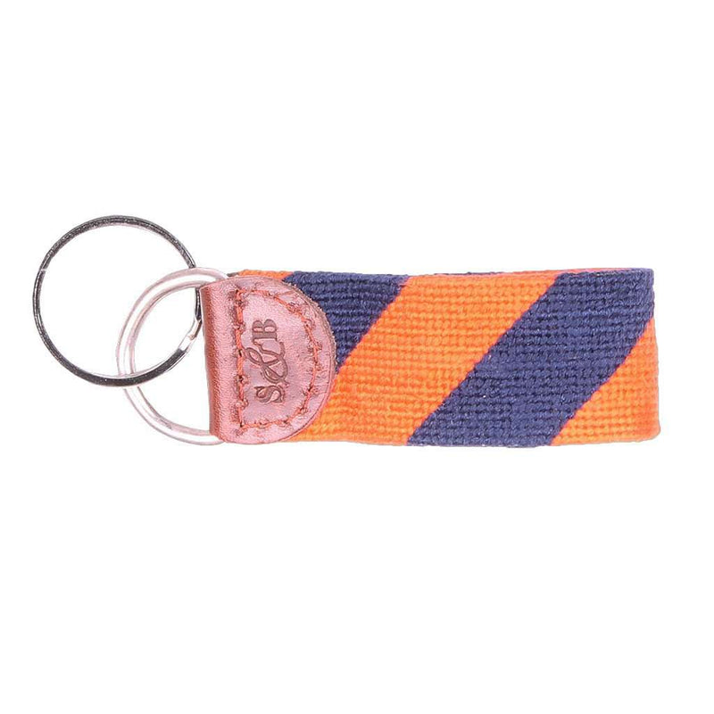 Repp Stripe Needlepoint Key Fob in Orange and Dark Navy by Smathers & Branson