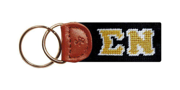 Key Fobs - Sigma Nu Needlepoint Key Fob In Black By Smathers & Branson