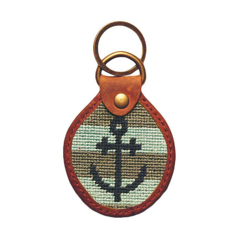Striped Anchor Needlepoint Key Fob in Blue and Grey by Smathers & Branson