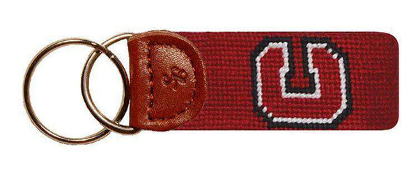 The Colgate University Needlepoint Key Fob in Maroon by Smathers & Branson