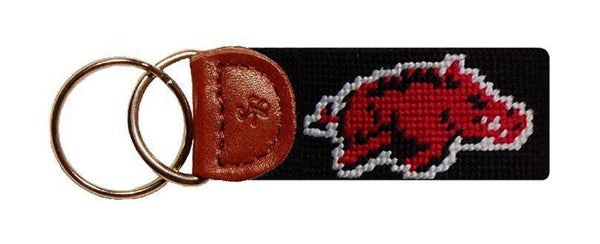 University of Arkansas Needlepoint Key Fob in Black by Smathers & Branson