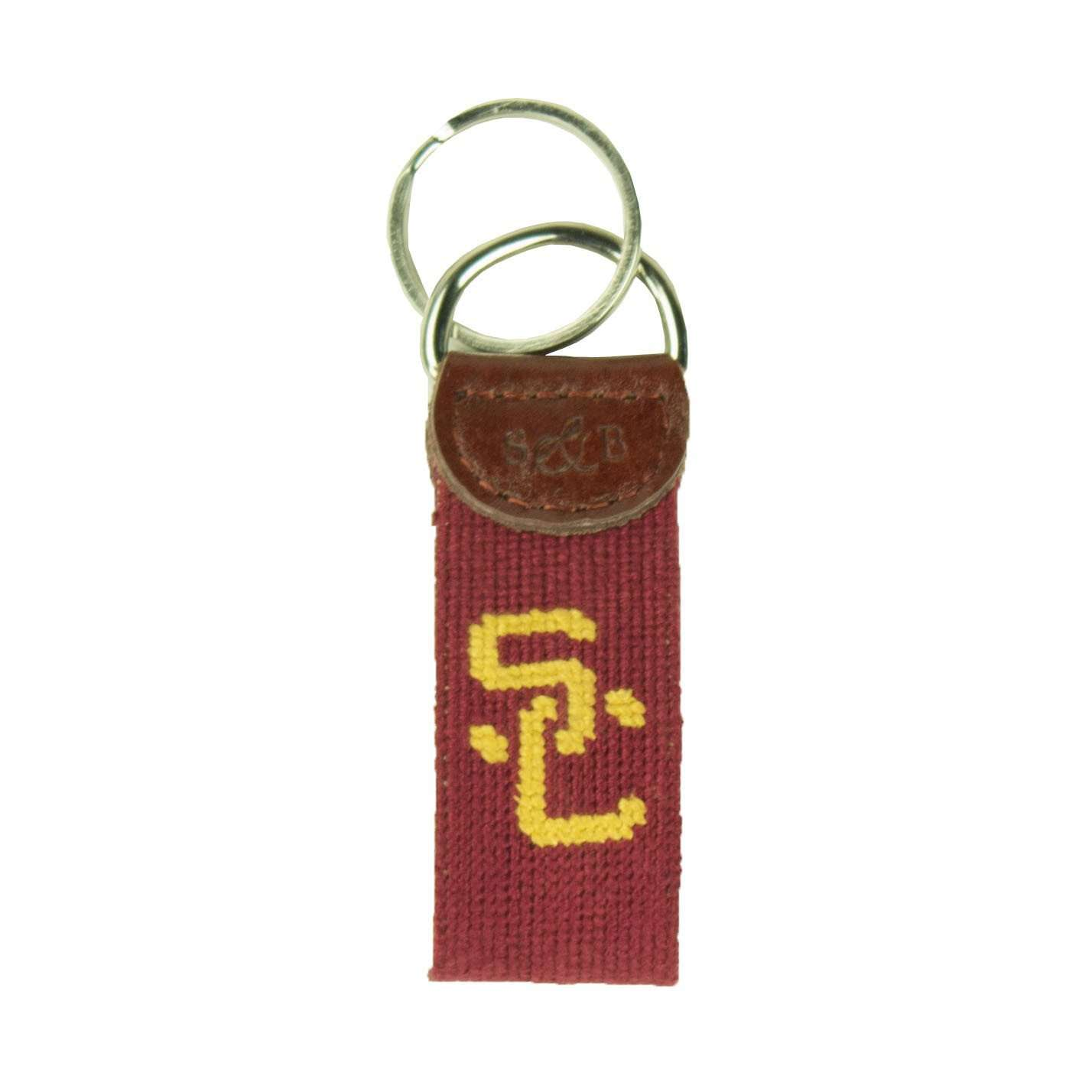 Key Fobs - University Of Southern California Needlepoint Key Fob In Crimson By Smathers & Branson
