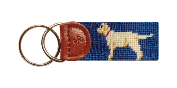 Yellow Lab Needlepoint Key Fob in Blue by Smathers & Branson