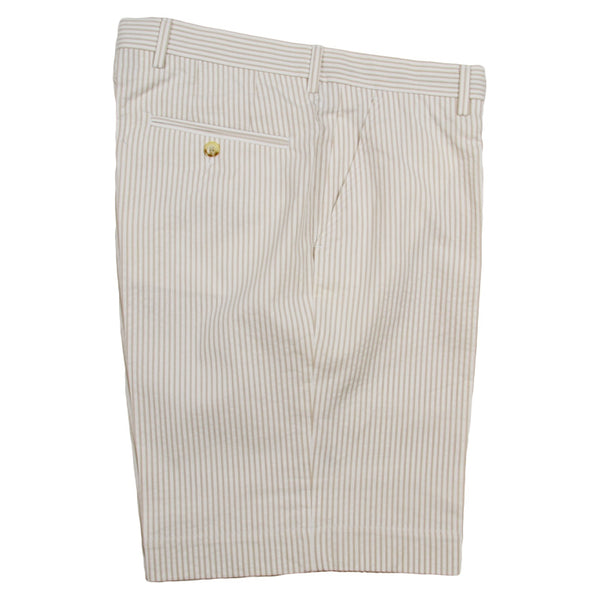 Tan Seersucker Shorts by Country Club Prep