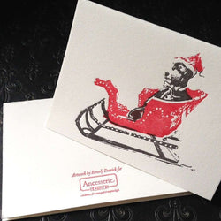 Santa Lab in Sleigh Greeting Cards by Ancesserie