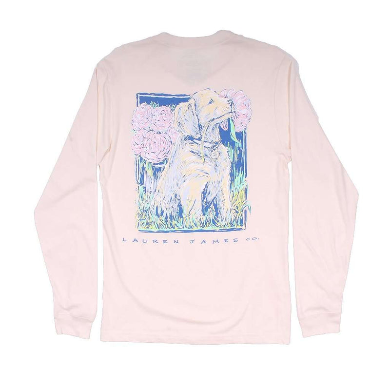 Peony Puppy Long Sleeve Tee in Ivory by Lauren James - FINAL SALE