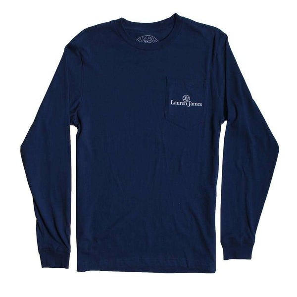 Lauren James Seersucker Santa Long Sleeve Tee in Estate Blue
