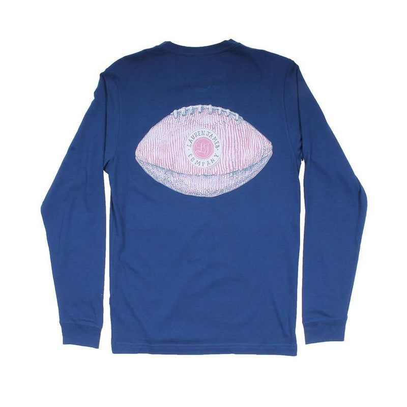 Seersucker Football Long Sleeve Tee in Estate Blue by Lauren James - FINAL SALE