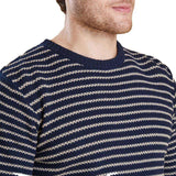 Legion Stripe Crew in Navy by Barbour  - 2