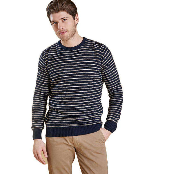 Legion Stripe Crew in Navy by Barbour  - 1
