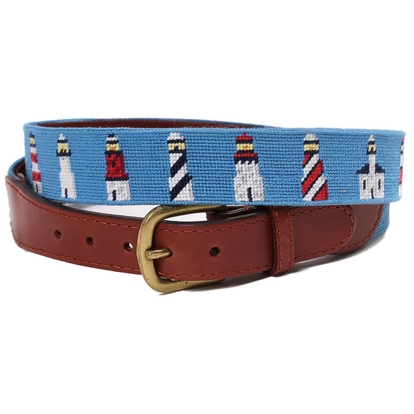 Lighthouses Needlepoint Belt by Smathers & Branson