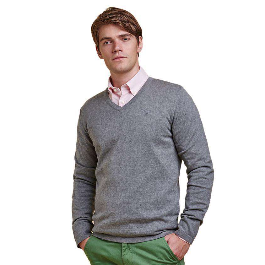 Lightweight V Neck Jumper in Grey Marl by Barbour  - 1