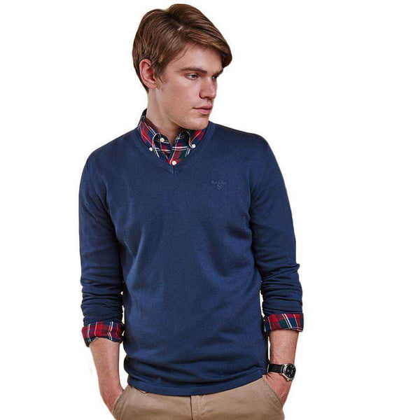 Lightweight V Neck Jumper in Navy by Barbour  - 1