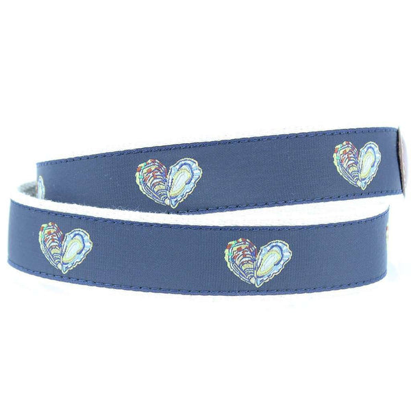 Oyster Love Leather Tab Belt in Navy by Country Club Prep  - 2