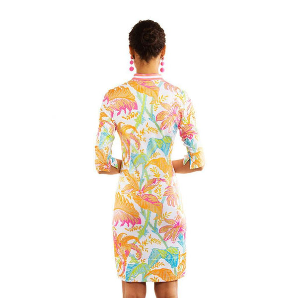 Mandarin Dress in Palm Palm White/Multi by Gretchen Scott