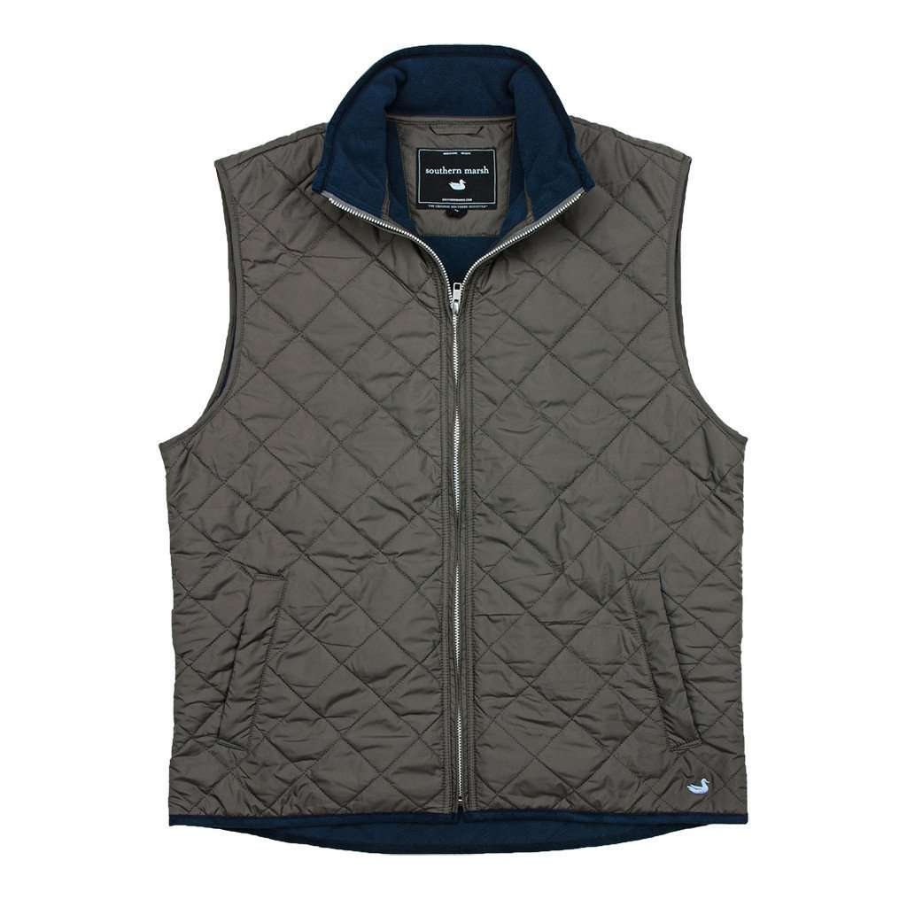 Marshall Quilted Vest in Midnight Gray by Southern Marsh  - 1