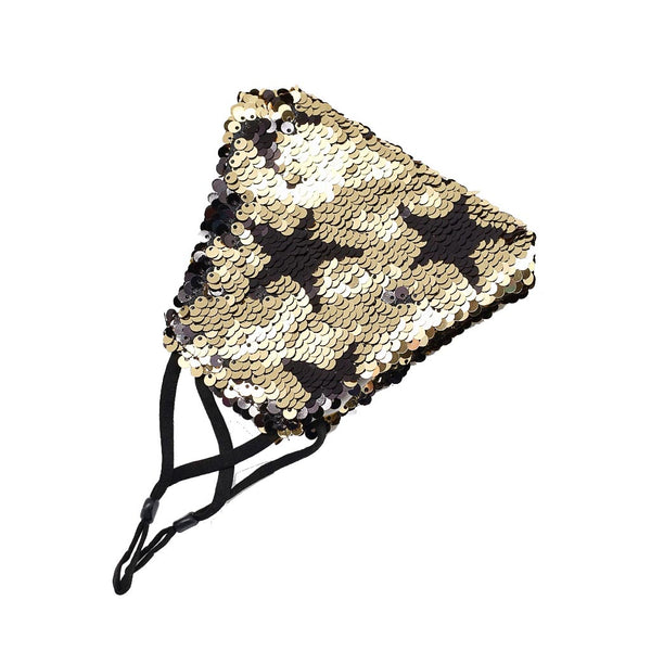 Gold Mellor Reversible Sequin Star Face Mask by Caroline Hill