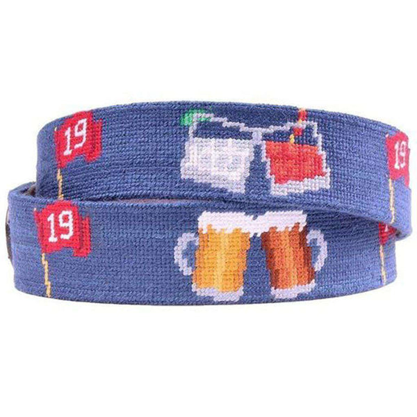 19th Hole Needlepoint D-Ring Belt in Classic Navy by Smathers & Branson