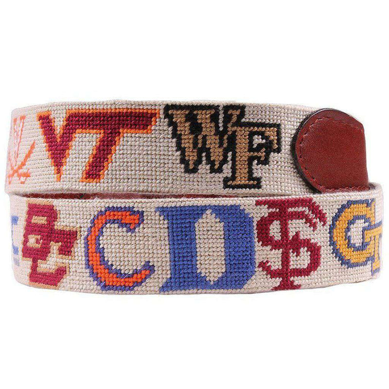 ACC Needlepoint Belt in Stone by Smathers & Branson